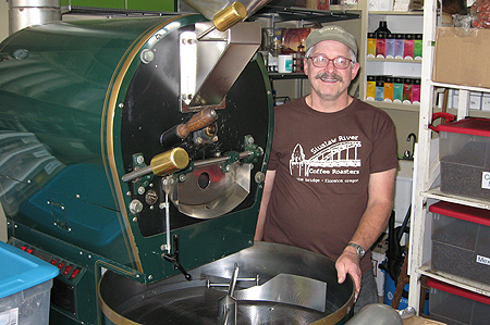 John Stone with Diedrich 30-pound coffee roaster.