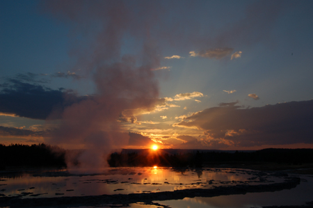 The geyser, which erupts to heights of 75 to 150 feet every 8 to 12 hours.
