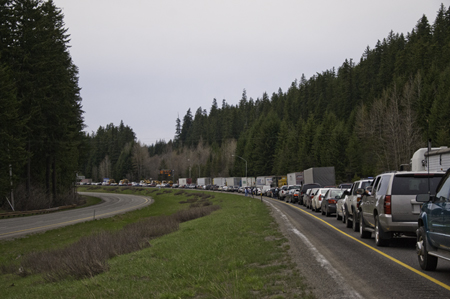 Construction Backup at Snoqualmie Pass